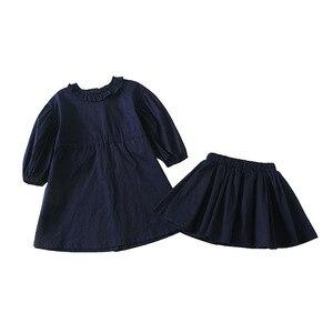 Image 5 - ¡Novedad de primavera! Conjuntos de ropa de algodón de estilo coreano, vestido de princesa de manga larga con mini falda a la moda para niñas bebé lindas.