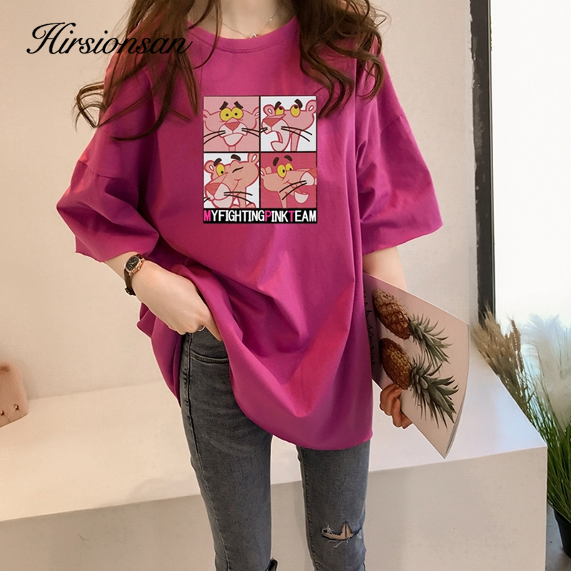 Hirsionsan Pink Panther Printed Women T Shirt 2020 New Tee Korean Harajuku Female Tees Kawaii Soft Casual Tops Cartoon T Shirt