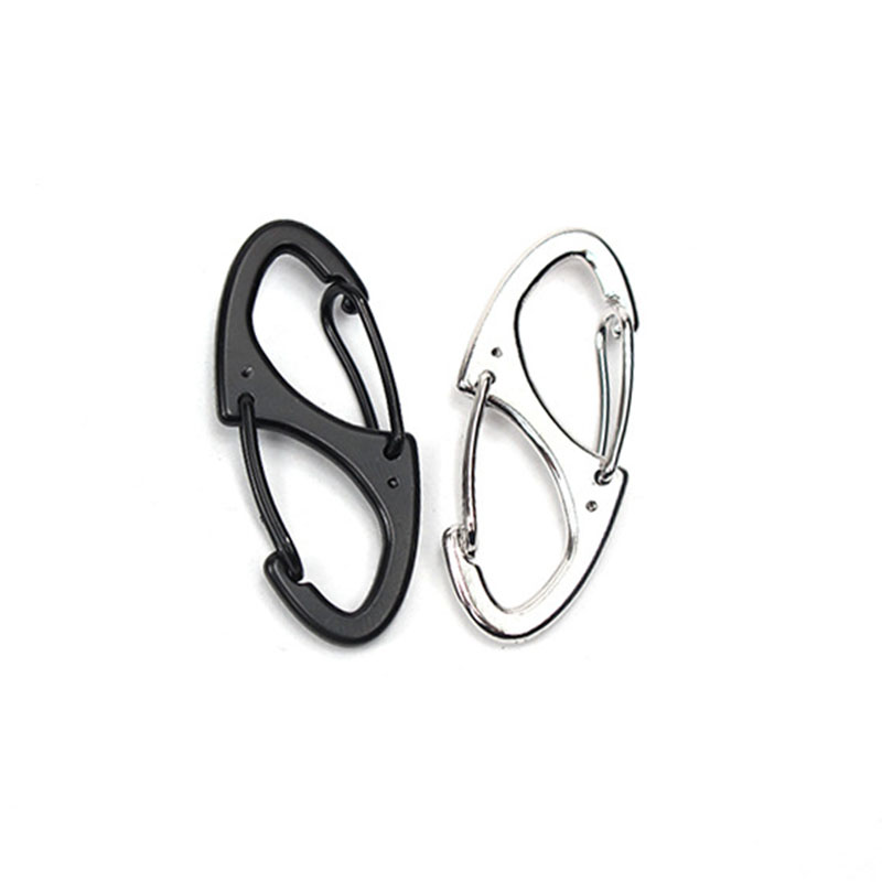 5pcs Zinc Alloy 8 Shaped Carabiner S Type EDC Spring Keychain Backpack Clip Quick Hook Lock Buckle Outdoor Camping Hiking Tools
