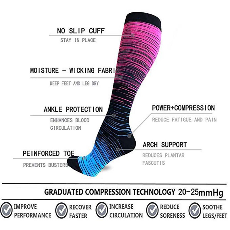 Hcbbf79393f964a54b55c2e8c0625d23fl - Socks Sport For Men Women Compression Gradient Color Mixing Socks Knee High/Long Nylon Hosiery Footwear Accessories S-XL Blue