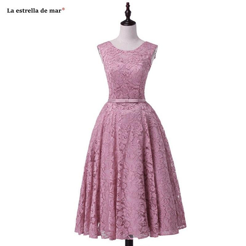 Plus size vestido madrinha new Scoop neck lace pearl A Line blush pink bridesmaid dress Tea Length robe demoiselle d'honneur