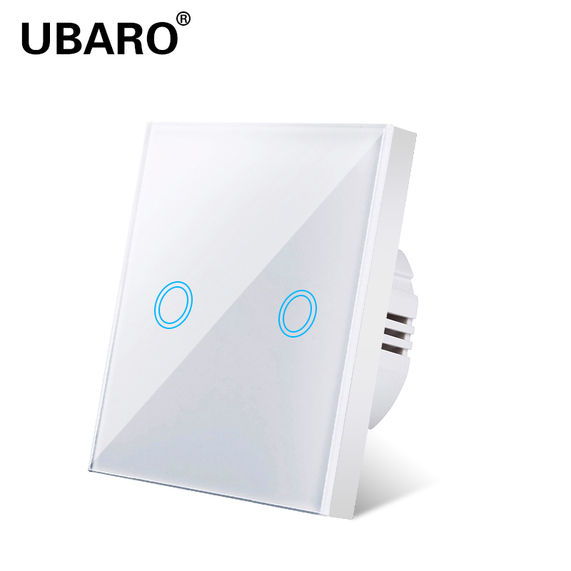 UBARO Touch Switch EU Standard Switch Glass Panel Touch Wall Switch  Ac220v 2 Gang 2 Way Wall Lamp Touch Screen