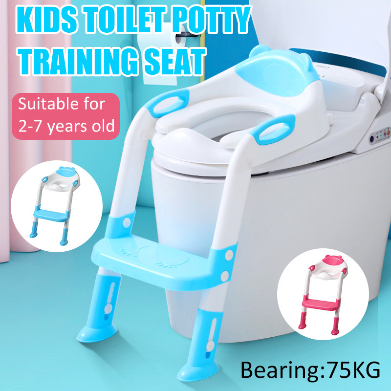 Folding Baby Potty Infant Kids Toilet Training Seat with Cushion Adjustable Ladder Potty Training Seats for Children 66x34x26cm