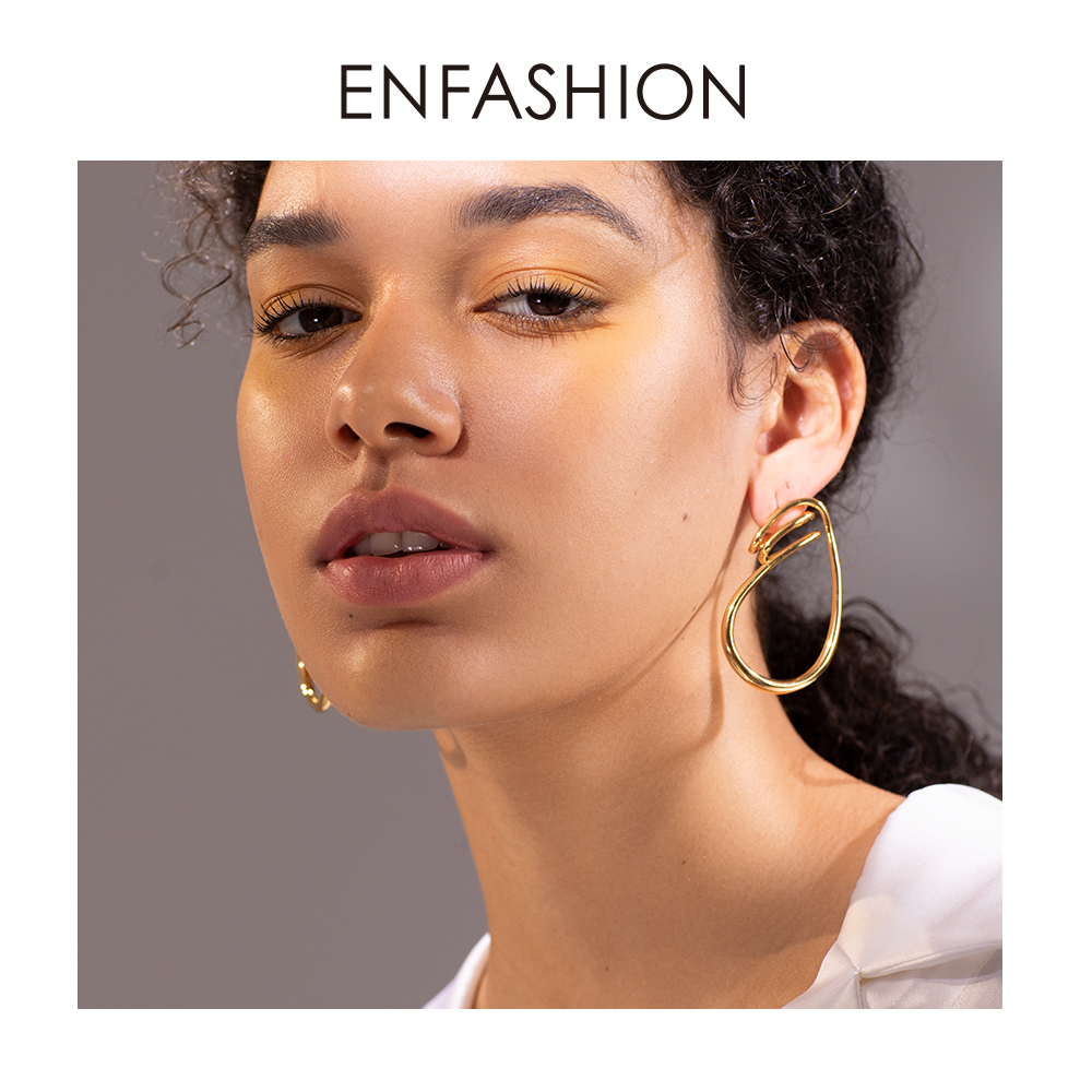 Image 5 - ENFASHION Irregular Curve Line Drop Earrings For Women Gold Color Simple Dangle Earings Fashion Jewelry Dropshippping E191143Drop Earrings   -