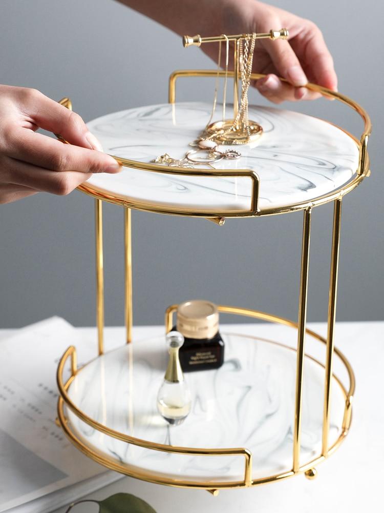 Nordique marbre style Double pont cosmétiques réception cadre coiffeuse bureau bijoux parfum rouge à lèvres stockage supports boîte