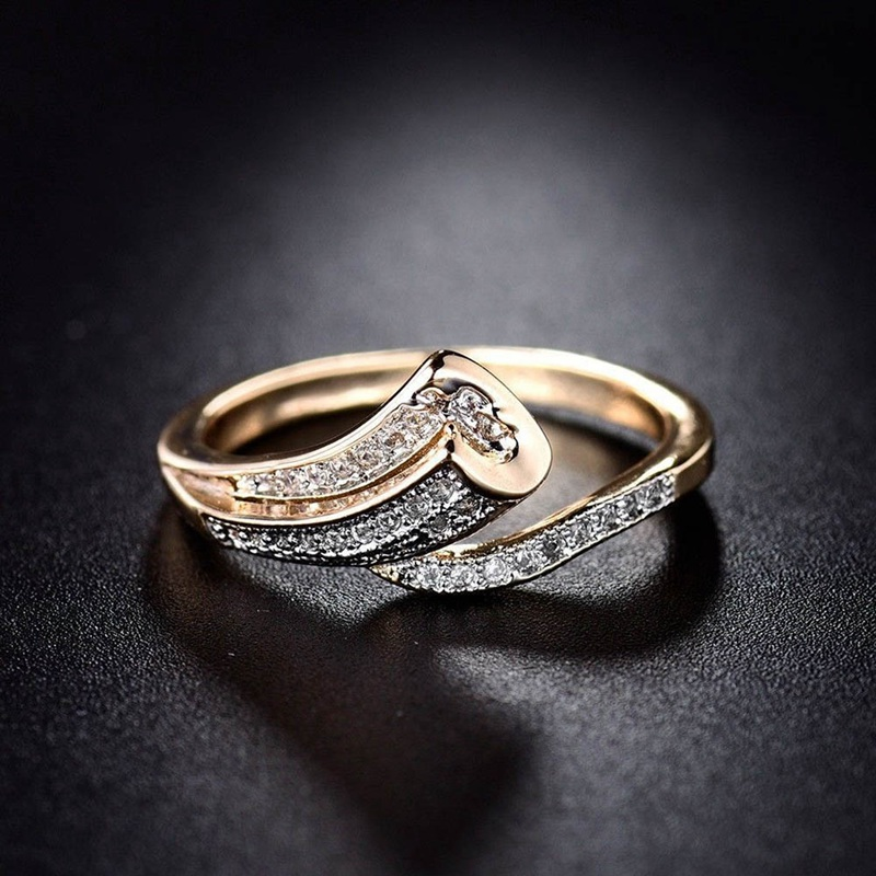 Fashion Unique Finger Band for Women Gold-Color Ring Pave Crystal CZ Zircon Statement Jewelry for Mother