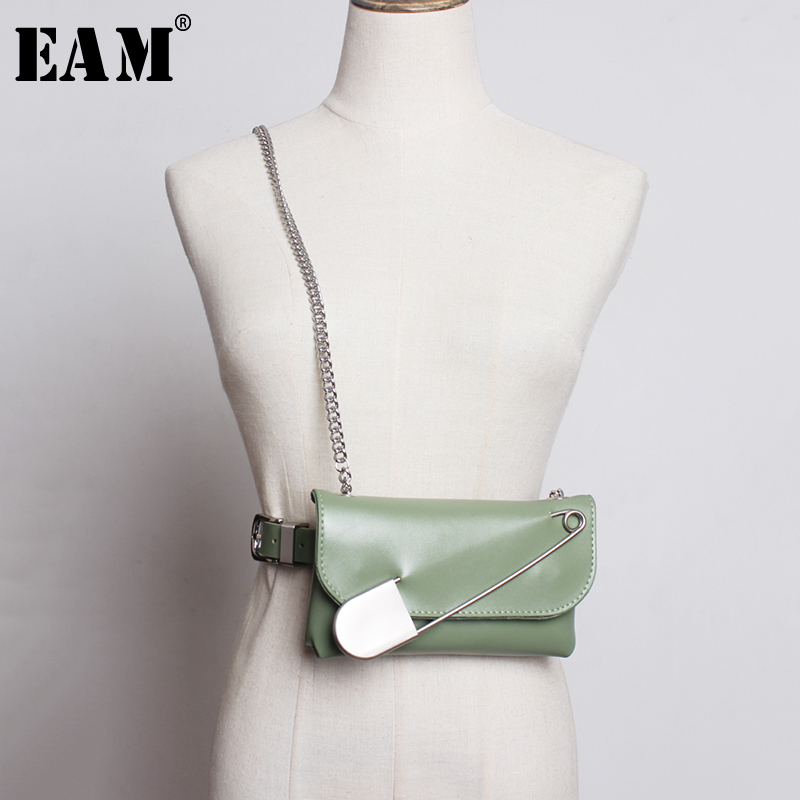 [EAM]  Pu Leather Big Pin Metal Chain Mini-bag Long Belt Personality Women New Fashion Tide All-match Spring Autumn 2020 1A982