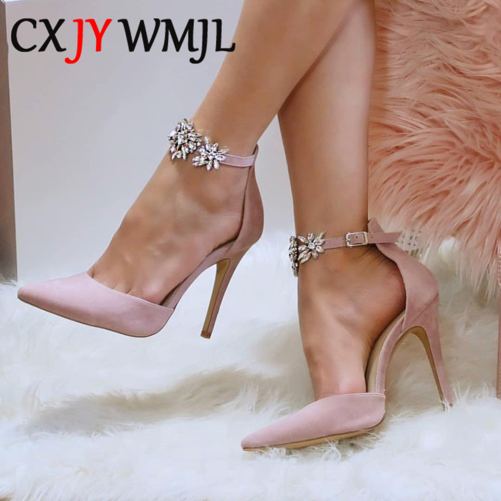Flowers Rhinestone Women thin heels Sandals 6 Color Luxury Silk Pointed Wedding Shoe Summer Buckle Strap Crystal Party Shoes