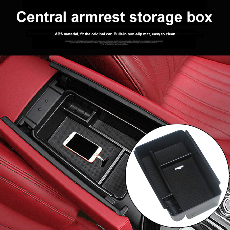 Central Armrest Storage Box Cover Trim ABS Car Organizer For Maserati Ghibli Levante 2014-17 B99
