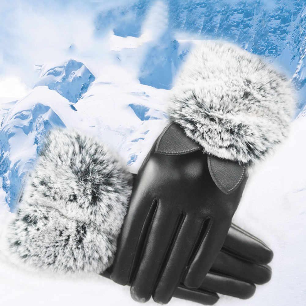 2019 Notícias de Moda Inverno Toque luvas de Tela Mulheres Senhora Preto Luvas De Couro Luvas De Pele De Coelho Orelhas de Gato Outono Inverno Quente