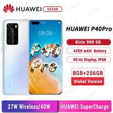 Versão global huawei p40 pro 5g smartphone 6.58 Polegada kirin 990 octa núcleo android 10 sa/nsa em tela gesto sensor 40w