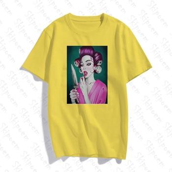 Cool Cartoon Character Girl Tshirt Women Pink Harajuku Vintage Kawaii Colorful Short Sleeve Cotton Skipoem Clothes Summer Tops