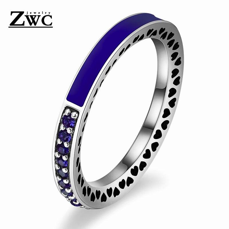 ZWC модный Сияющий светильник в виде сердец с розовой эмалью и прозрачным CZ кольцом на палец для женщин, кольца с кристаллами из медного сплава, ювелирные изделия в подарок - Цвет основного камня: DarkBlue