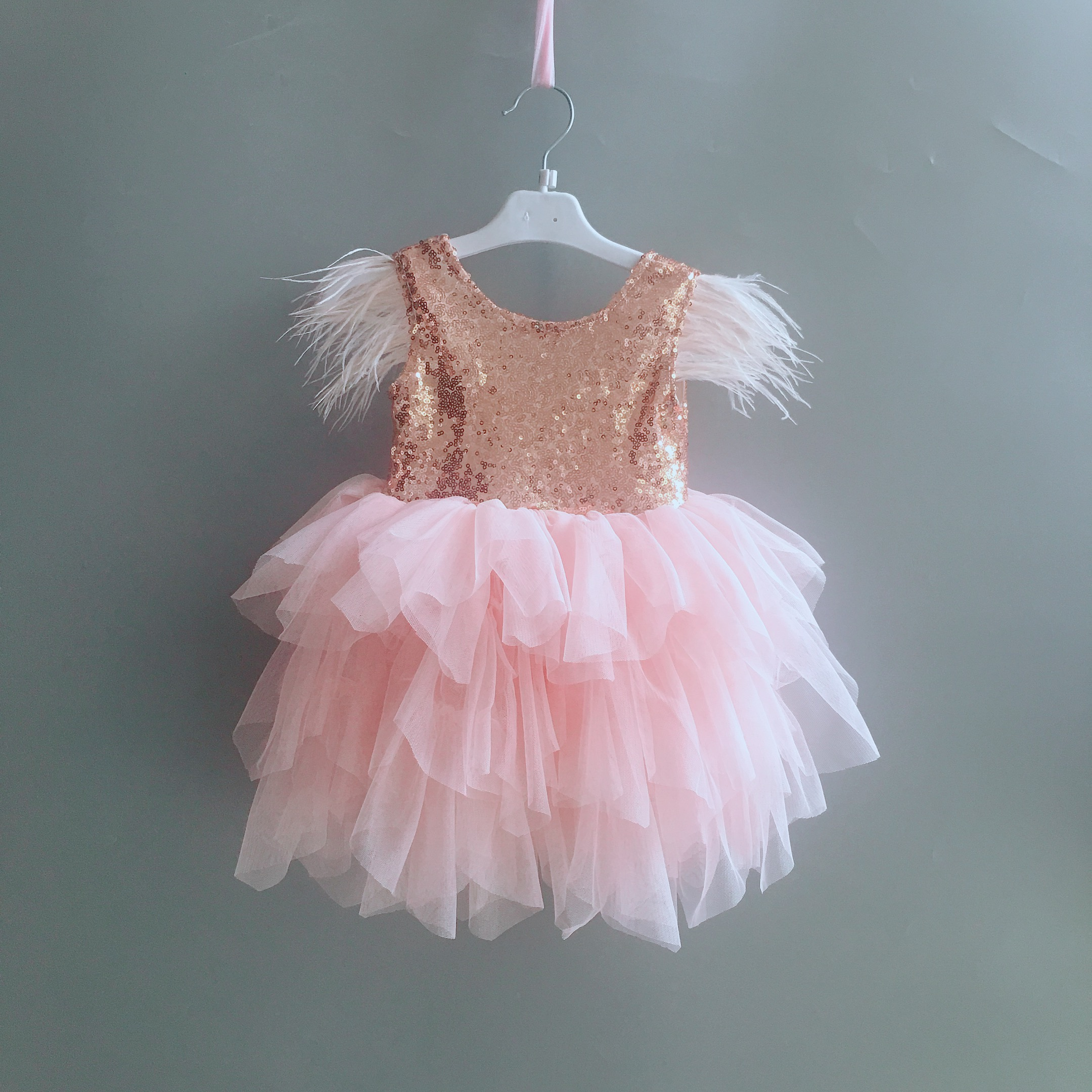 Princess baby feather dress 1st birthday party toddler girls lace flying sleeve summer dress kids tutu clothing with sashes 4