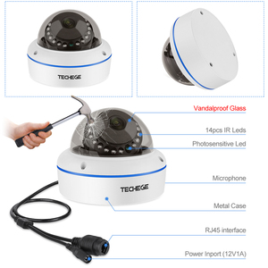 Image 2 - Techege HD 5MP 2MP 48V IP Camera Vandalproof  Indoor Outdoor Wired Security IP Cameras Onvif POE Dome Camera Xmeye Remote Access