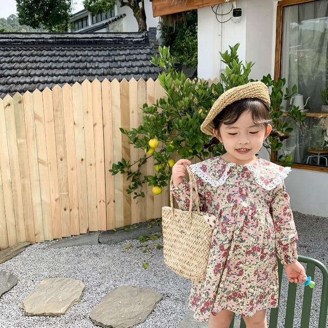 Bahar yeni varış kore tarzı pamuk çiçekler desen dantel yaka prenses uzun kollu elbise için sevimli tatlı bebek kız