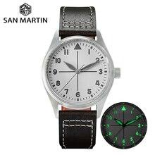 サンマーティンパイロットファッションシンプルな腕時計ビジネスホワイトダイヤル自動メンズ機械式時計革 200 メートル防水発光