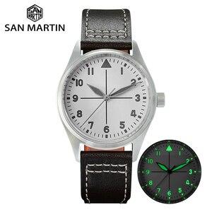 Image 1 - サンマーティンパイロットファッションシンプルな腕時計ビジネスホワイトダイヤル自動メンズ機械式時計革 200 メートル防水発光