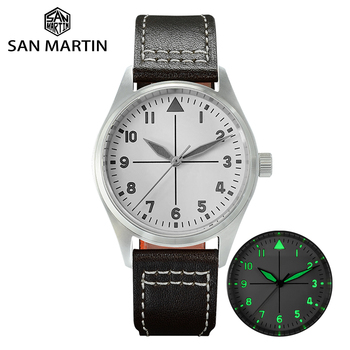 San Martin Pilot Fashion Simple Watch Business White Dial Automatic Men Mechanical Watches Leather 200m Water Resistant Luminous martin logan edge paintable white
