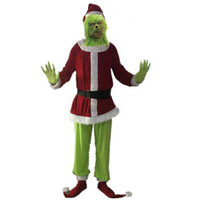2019 Christmas Dress Halloween COS Set Green Blame Grinch Party Costume Adult Male Suit