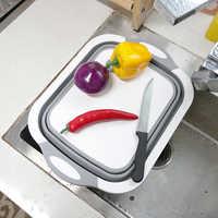 Tabla para cortar, tabla para cortar plegable con coladores, tablas de cortar para cocina, cesta de lavado, organizador de desagüe de cocina