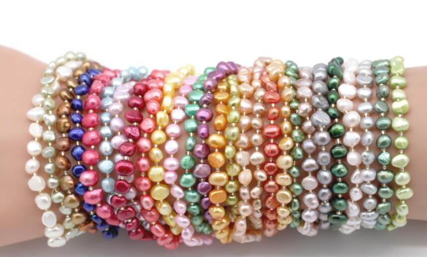 Prix usine perles Bracelet pépite perles bracelets extensibles 26 couleurs perles d'eau douce naturelles Bracelet en vente meilleur cadeau N113