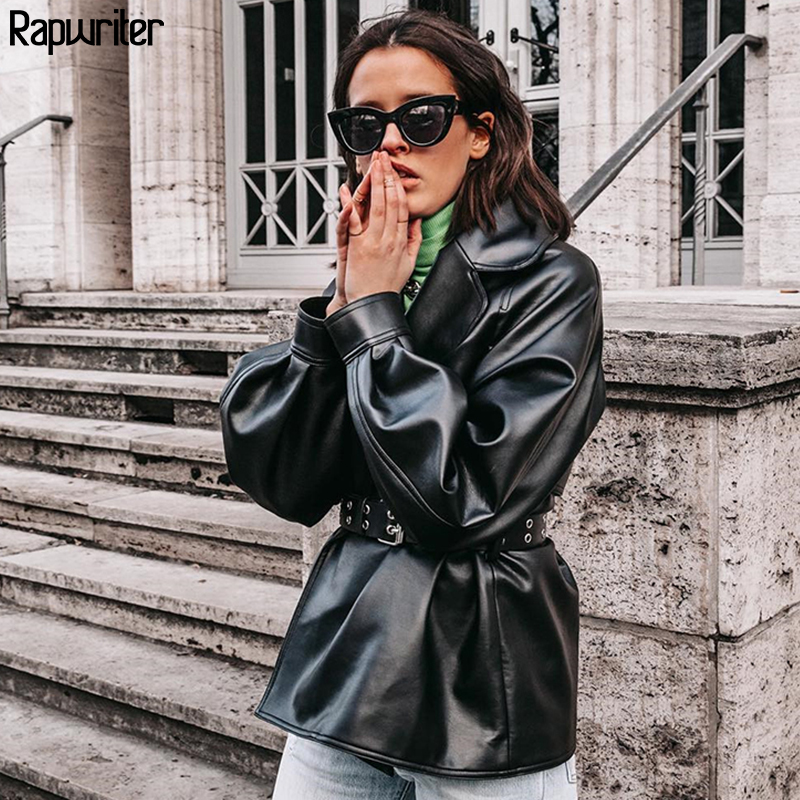 Rapwriter Women Black PU Leather Jackets Bow Tie Sashes Pockets Long Sleeve Notched coats Female Outwear Chic Casual Tops Winter