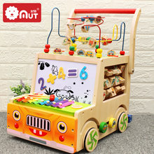 Wooden infant walker multifunctional baby stroller children's toys around beads treasure chest building blocks(China)