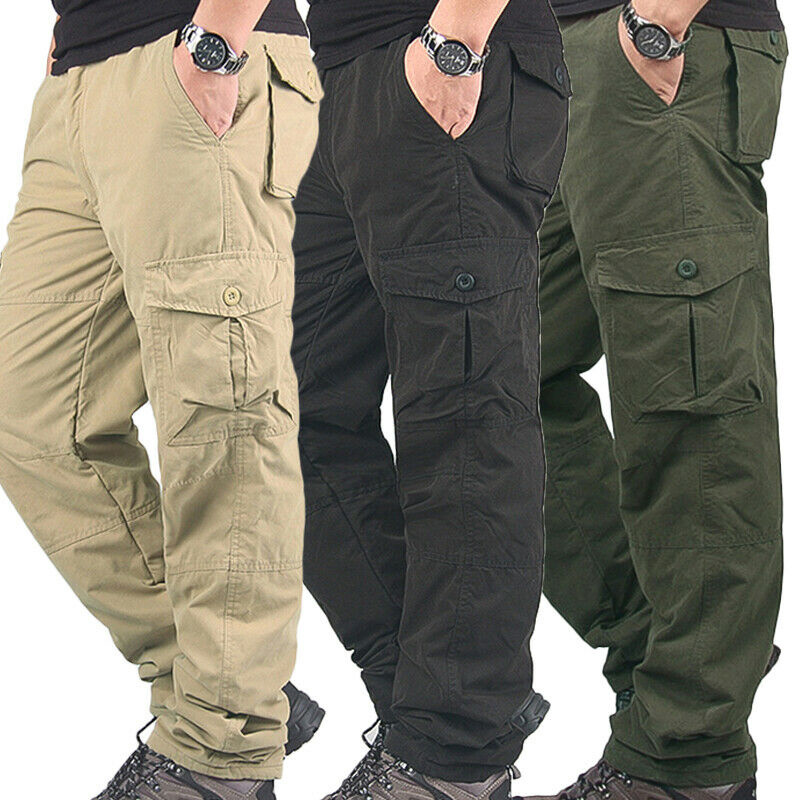 Men Working Winter Warm Thermals Cargo Pants Pocket Thick Trouser For Outdoor HSJ88
