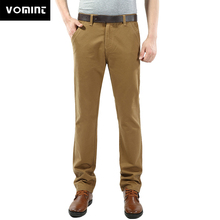 VOMINT 2020 pantalones de hombre Pantalones de tela de sarga de algodón bolsillos bordados pantalones largos rectos pantalones casuales de negocios pantalones de hombre traje
