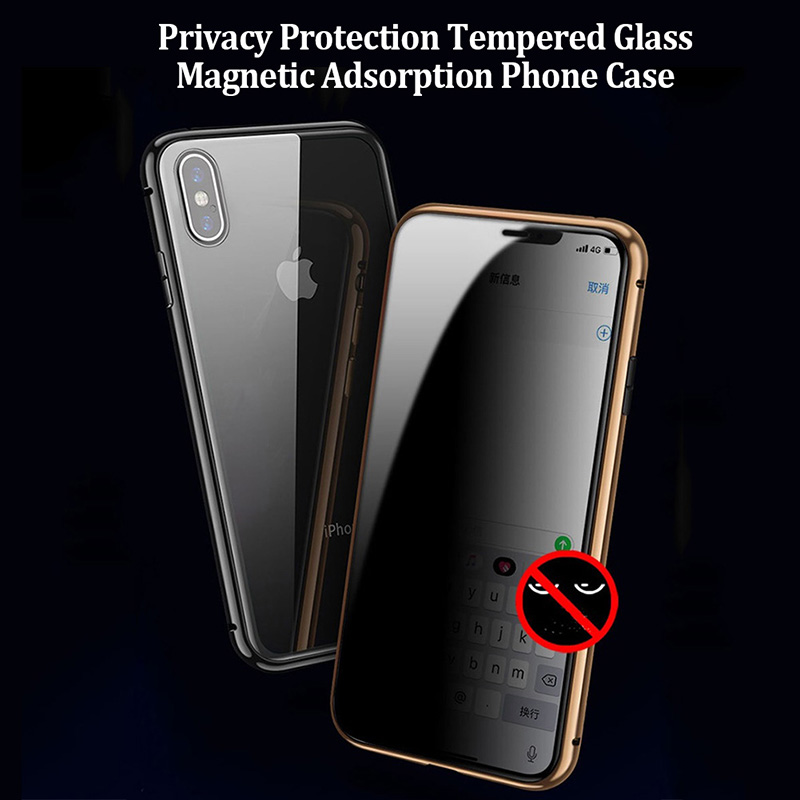Privacy Glass Magnetic Case For iPhone 11 Pro Max X XS MAX XR 8 7 6 <font><b>6S</b></font> Plus <font><b>360</b></font> Double Sided Tempered Metal Magnet Phone Cover image
