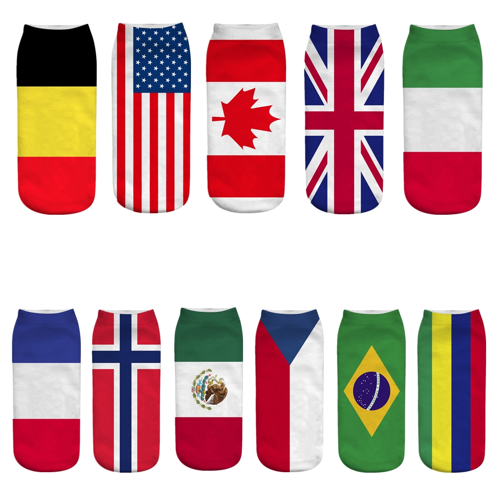 Men's Spring Summer Personality Cotton American United Kingdom Patter Flag Socks Harajuku Fashion Retro Trends Funny Happy Socks