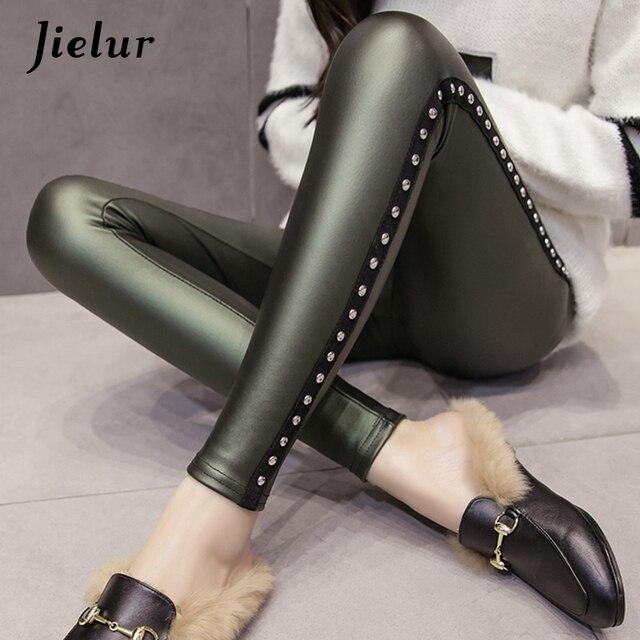 Jielur Winter Fleece Matte PU Leather Leggings Women Fashion Rivets Push Up Pencil Pants 4 Colors S-XXXL Lady High Waist Legging 4