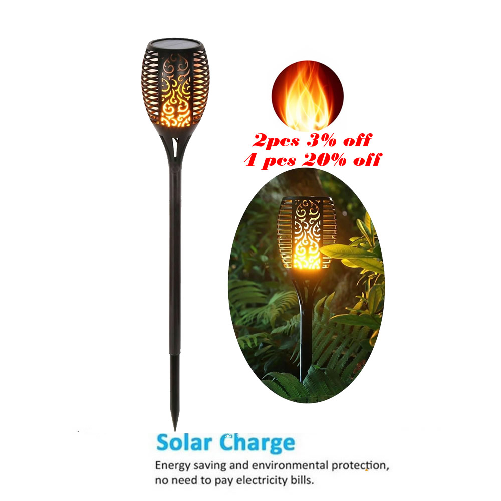 Solar 33 LED Lawn Flame Torch Lights Wireless Optional Shape For Outdoor Landscape Yard Camps Decor Deck Street Flame Lamp Flick