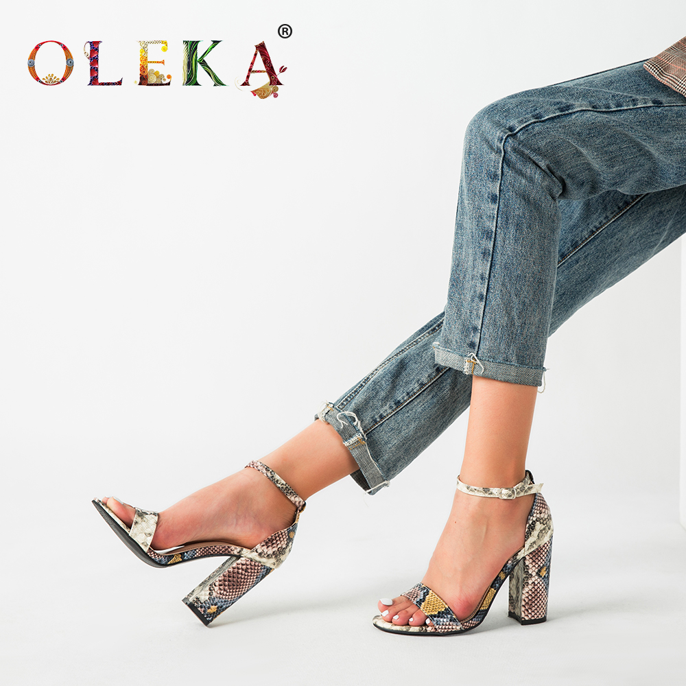 OLEKA Fashion New Snake Pattern Sandals High Heel Women's Shoes Sexy Party Style Very Beautiful And Suitable For Women's Shoes