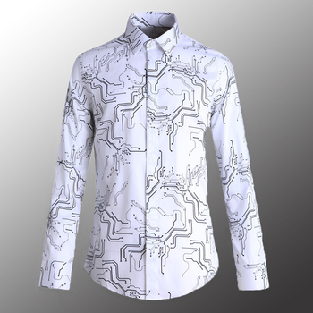 New 100% Cotton Mens Shirts Luxury Electronic Printed Long Sleeve Mens Dress Shirts Plus Size 4xl Slim Fit Party Man Coats