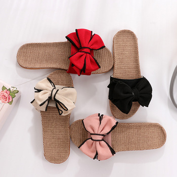 Women Summer Casual Slides Comfortable Flax Slippers Striped Bow Linen Flip Flops Platform Sandals Ladies Indoor Shoes