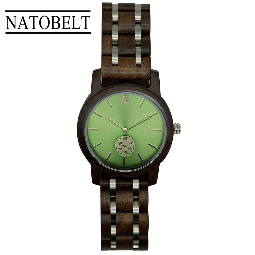 NATOBELT Wood And Stainless Steel Watches Mens Wristwatches Chronograph Military Quartz Watches
