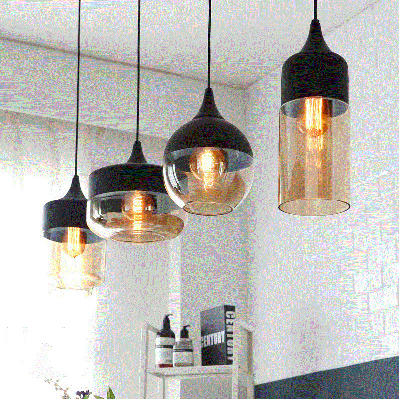 Modern <font><b>pendant</b></font> <font><b>light</b></font> black/white Retro Droplight Bar Cafe Bedroom Restaurant American Country Style Hanging Lamp image