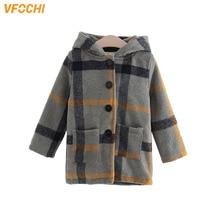 VFOCHI Fashon Girl Wool Coat Windbreaker Kids Plaid Pattern Children Clothing Baby Girls Winter Hooded Outerwear