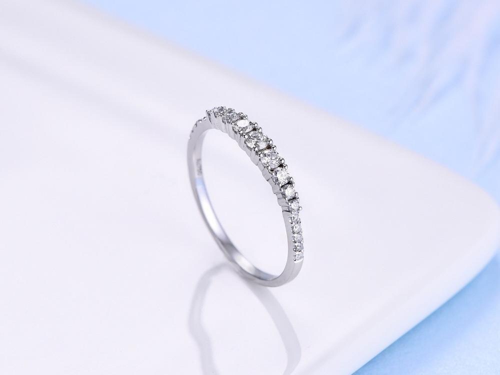 ANI 18K or blanc/Rose (AU750) bague de mariage 0.24 CT anneaux en or anillos mujer bague de mariage véritable diamant naturel pour les femmes - 3