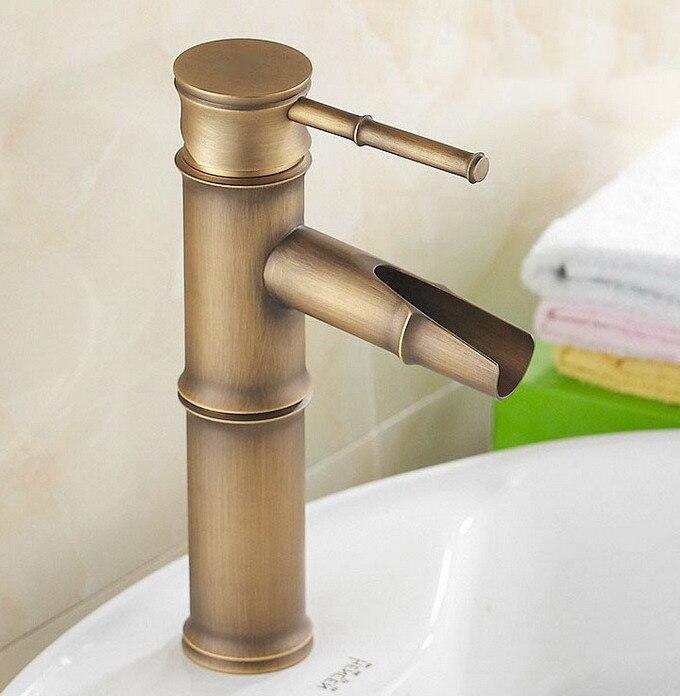 Style bambou Vintage rétro Antique en laiton salle de bains évier bassin mitigeur robinet un trou poignée unique mnf037