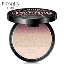 BIOAQUA 3 Colors Portable Eyeshadow Long Lasting Highlighter Makeup Palette Good Quality Highlight Powder Metal Nude Eye Shadow