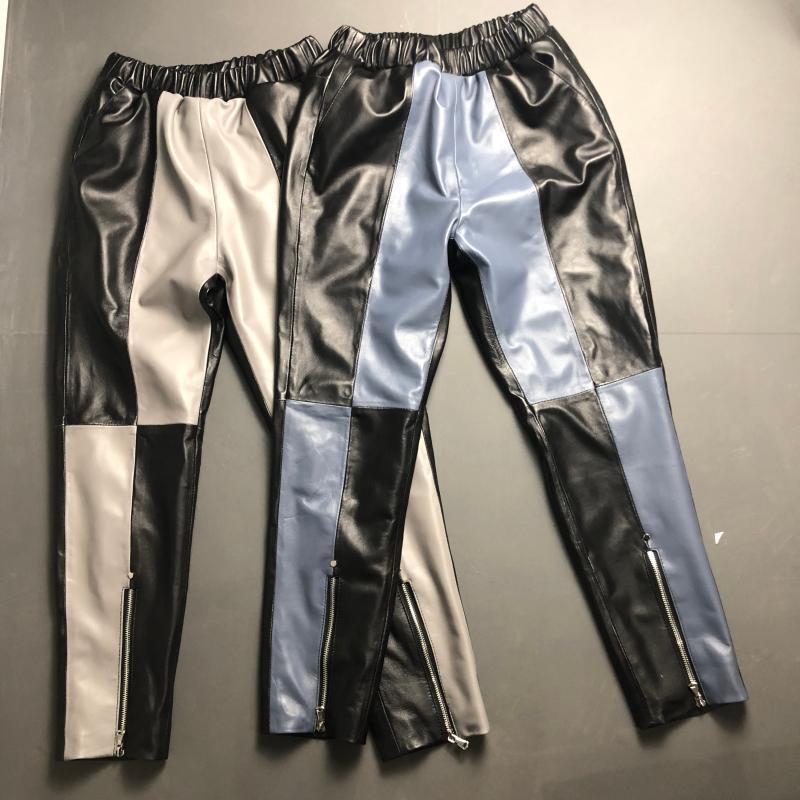 XS-3XL frappé couleur Véritable pantalon En Cuir peau de Mouton pantalon Femme taille haute noir était mince mince en cuir véritable Pantalon F684 livraison directe