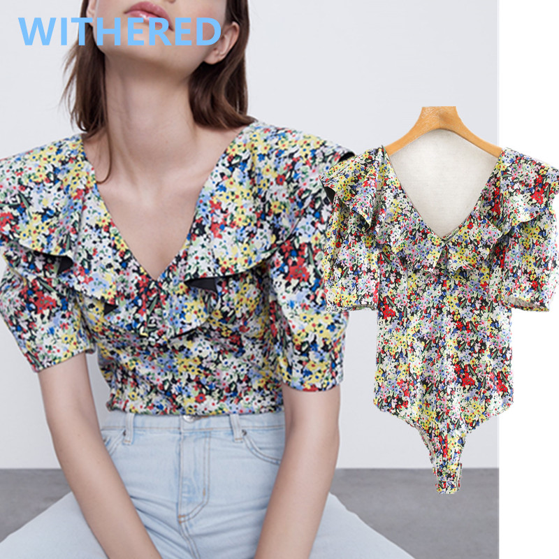 Withered Summer Bodysuits Women England High Street Vintage Floral Prting Cascading Puff Sleeve Sexy V-neck Bodysuits Women Top