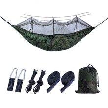 цена на Hiking Camping 260*140cm Hammock Outdoor Mosquito Net Parachute Hammock Camping Hanging Sleeping Bed Swing Portable  Hammock
