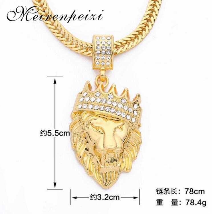 2019 nowa moda hip hop korona lew głowy naszyjnik męska hiphop wisiorek boutique biżuteria