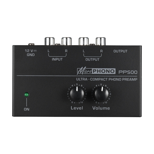 Pp500 Ultra Compact Phono Preamp Preamplifier with Level & Volume Controls Rca Input & Output 1/4 Inch Trs Output Interfaces,E