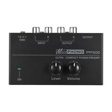 Pp500 ultra compacto phono preamplificador com nível & controles de volume rca entrada e saída 1/4 Polegada trs interfaces de saída, e
