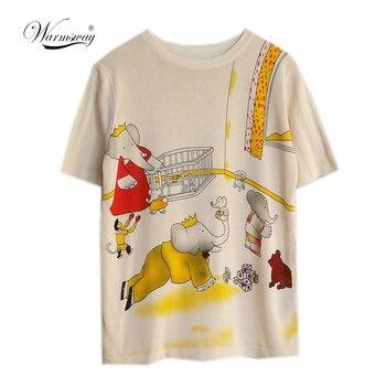 Женский винтажный трикотажный топ с коротким рукавом, модная дизайнерская футболка с принтом слона из мультфильма, весна-лето 2020, футболка ...